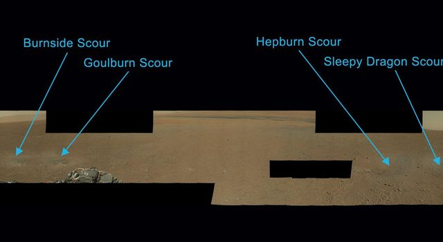 Scientists have now named the four marks near NASA's Curiosity rover where blasts from the descent stage rocket engines blew away some of the Martian surface material. Clockwise from the most north: Burnside, Goulburn, Hepburn and Sleepy Dragon.