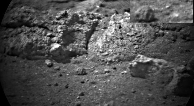 NASA's Curiosity rover shot its laser 50 times at rocks exposed by thrusters on the rover's sky crane at the scour mark called 'Goulburn.'