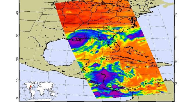 Strong tropical storm Isaac continues to create havoc across the Gulf Coast, from eastern Texas to Florida. This infrared image from NASA's Aqua spacecraft, was acquired at 2:41 p.m. CDT on Aug. 29, 2012.