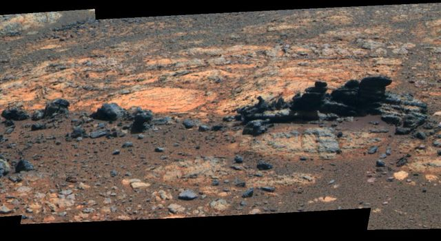 Rock fins up to about 1 foot (30 centimeters) tall dominate this false color scene from the panoramic camera (Pancam) on NASA's Mars Exploration Rover Opportunity.