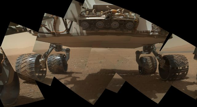 This view of the lower front and underbelly areas of NASA's Mars rover Curiosity combines nine images taken by the rover's MAHLI camera during the 34th Martian day, or sol, of Curiosity's work on Mars.