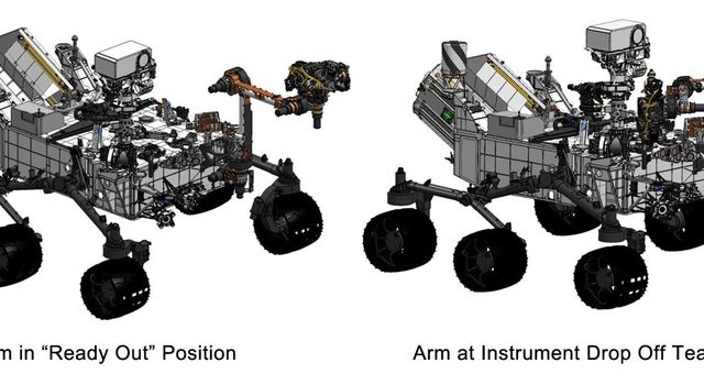 "This engineering drawing shows the arm on NASA's Curiosity's rover in its 'ready-for-action' position, or ""'ready out' as engineers say, in addition to the position it assumes to drop off samples."