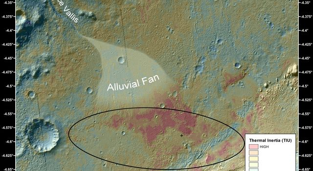 This false-color map shows the area within Gale Crater on Mars, where NASA's Curiosity rover landed on Aug. 5, 2012 PDT (Aug. 6, 2012 EDT). The rover is heading toward Glenelg, just to the lower right of Bradbury.