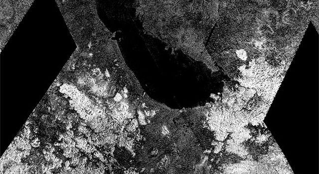 This image from NASA's Cassini spacecraft shows an ancient southern sea that used to sprawl out near the south pole of Saturn's moon Titan. Within this basin is the largest present-day lake in Titan's southern hemisphere, Ontario Lacus.
