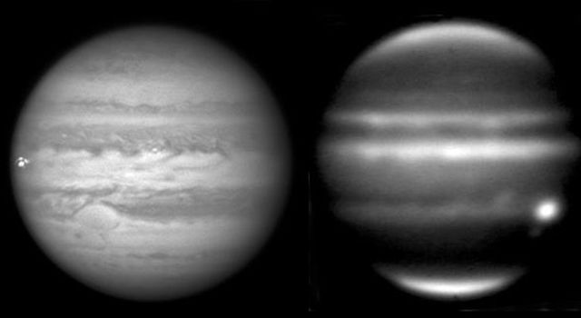 Jupiter has been suffering more impacts over the last four years than ever previously observed, including this meteoroid impact on Sept. 10, 2012. Right-hand image is an infrared image NASA's Infrared Telescope Facility on Mauna Kea, Hawaii.