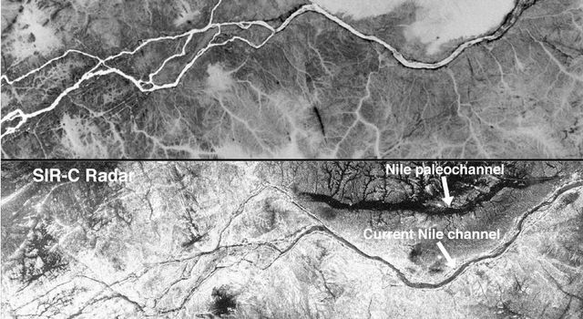 These two gray-scale images from NASA's Space Shuttle show part of the Nile River, near the Fourth Cataract in Sudan.