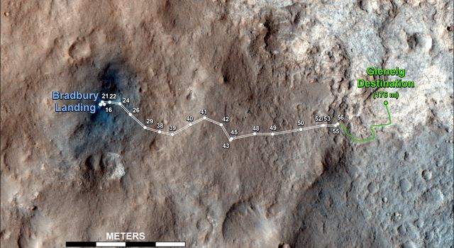 This map shows the route driven by NASA's Mars rover Curiosity through the 56th Martian day, or sol, of the rover's mission on Mars (Oct. 2, 2012).