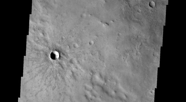 This image captured by NASA's 2001 Mars Odyssey spacecraft shows Winslow Crater, a fairly young crater. The darker rayed ejecta is still visible surrounding the crater.