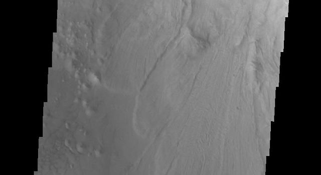 This image captured by NASA's 2001 Mars Odyssey spacecraft shows a landslide deposit in Ganges Chasma.