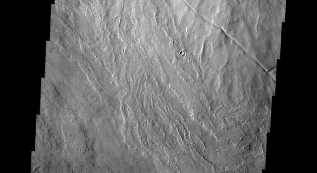 A volcanic vent has created a small construct (a volcano) in this region of Tharsis east of Arsia Mons. This image is from NASA's 2001 Mars Odyssey spacecraft.