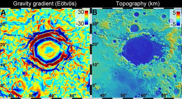 A linear gravity anomaly intersecting the Crisium basin on the nearside of the moon has been revealed by NASA's GRAIL mission. The GRAIL gravity gradient data are shown at left, with the location of the anomaly indicated.