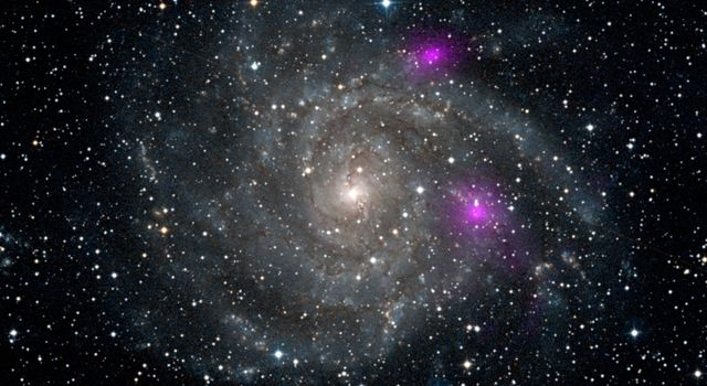 This new view of spiral galaxy IC 342, also known as Caldwell 5, includes data from NASA's Nuclear Spectroscopic Telescope Array, or NuSTAR. IC 342 lies 7 million light-years away in the Camelopardalis constellation.
