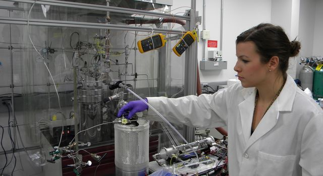 A team of scientists at NASA's Jet Propulsion Laboratory is testing whether organic molecules can be brewed in a simulated ocean vent. Pictured here is Lauren White, a member of the NASA Astrobiology Icy Worlds team.