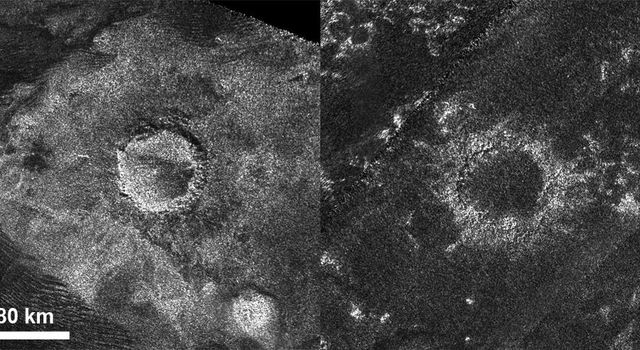 This set of images from the radar instrument on NASA's Cassini spacecraft shows a relatively 'fresh' crater called Sinlap (left) and an extremely degraded crater called Soi (right).