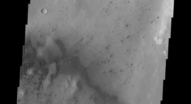 This image from NASA's 2001 Mars Odyssey spacecraft shows sand dunes of the floor of Trouvelot Crater.