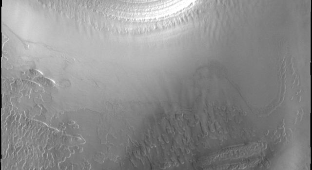 Mars' south polar cap is comprised of many layers of ice, as seen in this image from NASA's 2001 Mars Odyssey spacecraft.