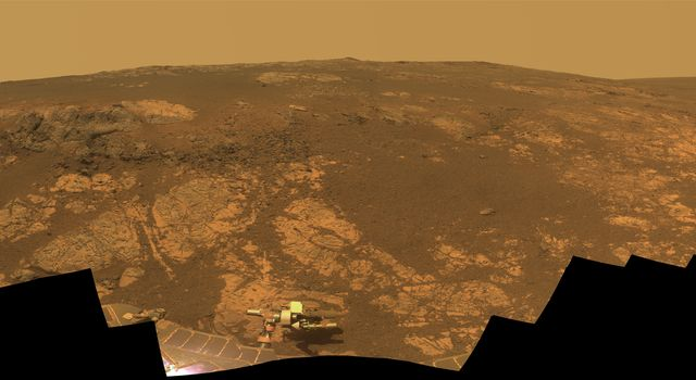 NASA's rover Opportunity takes a look at Matijevic Hill, an area within the 'Cape York' segment of Endeavour's rim where clay minerals have been detected from orbit.
