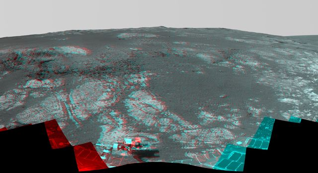 This 3-D image from NASA's rover Opportunity takes a look at Matijevic Hill, an area within the 'Cape York' segment of Endeavour's rim where clay minerals have been detected from orbit.