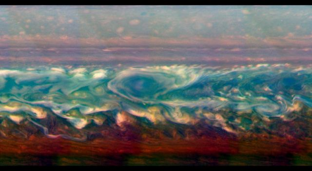 This mosaic of images from NASA's Cassini spacecraft shows the trail of a great northern storm on Saturn raging in full force. The contrast in the images has been enhanced to make the turbulent parts of the storm (in white) stand out.