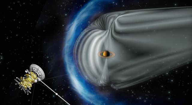 This artist's impression by the European Space Agency shows NASA's Cassini spacecraft exploring the magnetic environment of Saturn. The image is not to scale.