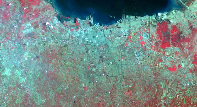 NASA's Terra spacecraft flew over Jakarta, the capital and largest city of Indonesia. The population of the Jakarta conurbation is over 28 million, making it perhaps the largest metropolitan area in the world in terms of inhabitants.