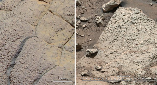 This set of images compares rocks seen by NASA's Opportunity rover and Curiosity rover at two different parts of Mars.