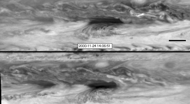 In this series of images from NASA's Cassini spacecraft, a dark, rectangular hot spot interacts with a line of vortices that approaches from on the upper-right side. The interaction distorts the shape of the hot spot, leaving it diminished.