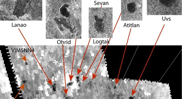 Three new small lakes, 100 to 300 square miles (a few hundreds of square kilometers) in surface area, have been identified on Saturn's moon Titan in data from NASA's Cassini spacecraft.