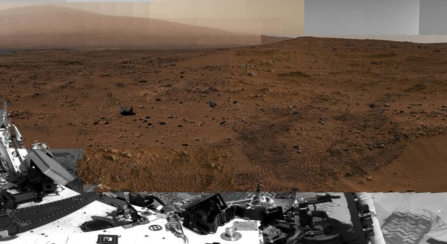 This image from NASA's Curiosity Mars rover shows Curiosity at the 'Rocknest' site where the rover scooped up samples of windblown dust and sand.