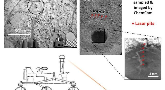 NASA's Curiosity Mars rover targeted the laser of the ChemCam instrument with remarkable accuracy for assessing the composition of the wall of a drilled hole and tailings that resulted from the drilling.
