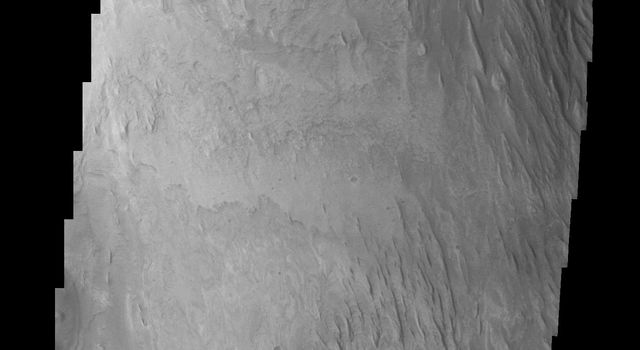 We now begin a traverse across Mt. Sharp moving from east to west. The layering of the material that comprises Mt. Sharp is visible in the bottom third of this image from NASA's Mars Odyssey spacecraft; showing the weathering that has affected Mt. Sharp.