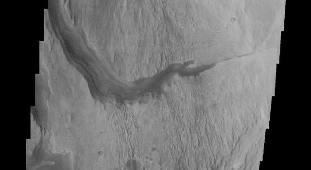 This image from NASA's Mars Odyssey spacecraft shows the westward continuation of a channel near Gale crater on Mars.