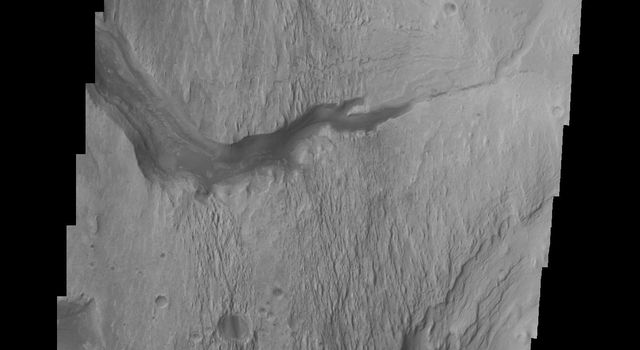 This image from NASA's Mars Odyssey spacecraft shows the major channel that started near the top of Mt. Sharp. Near the top of this image is a wide valley that reaches to the crater floor and the nearby dunes.