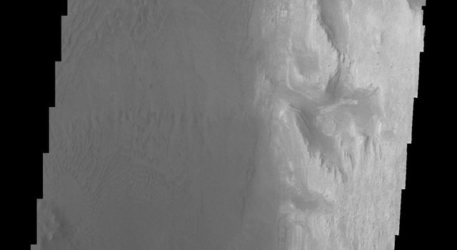 This image from NASA's Mars Odyssey spacecraft shows the southwestern floor of Gale Crater. A fairly large channel that dissects the crater rim is visible entering from the bottom of the frame and continuing northward.
