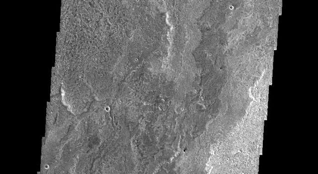 This image from NASA's Mars Odyssey spacecraft shows some of the extensive lava flows that originate at Arsia Mons.