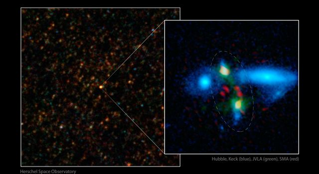 ESA's Herschel Space Observatory first spotted the colliding duo in images taken with longer-wavelength infrared light (left) with a close-up view at right, with merging galaxies circled.