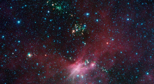Dozens of newborn stars sprouting jets from their dusty cocoons have been spotted in images from NASA's Spitzer Space Telescope. This view shows a portion of sky near Canis Major.