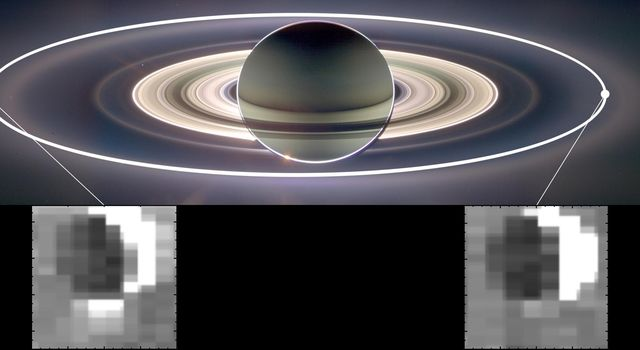 This set of images from NASA's Cassini mission shows how the gravitational pull of Saturn affects the amount of spray coming from jets at the active moon Enceladus.