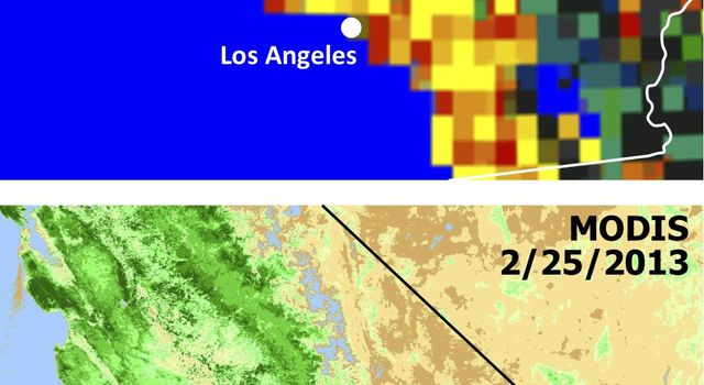 Extensive and persistent rains between Jan. 24 and Jan. 27, 2013, significantly increased soil moisture and enhanced vegetation growth in Southern California based on data from NASA's Aqua spacecraft and ISRO's Oceansat-2 satellite.