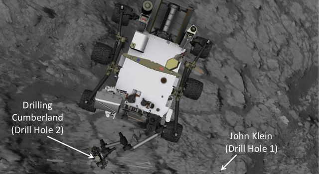 This image produced from software used for planning drives of NASA's Mars rover Curiosity depicts the location and size of the rover when it was driven into position for drilling into rock target 'Cumberland.'