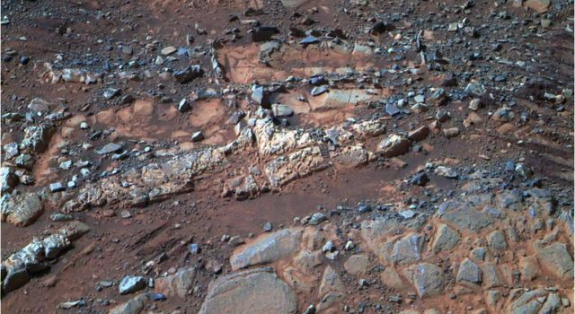 This image from the panoramic camera (Pancam) on NASA's Mars Exploration Rover Opportunity shows a pale rock called 'Esperence,' which was inspected by the rover in May 2013.