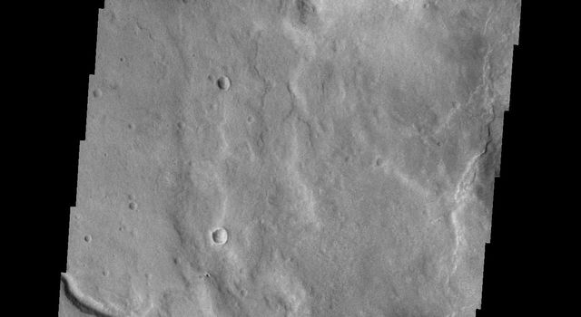 This image from NASA's Mars Odyssey spacecraft shows an unnamed channel located in Terra Sabaea, near Hellas Planitia.