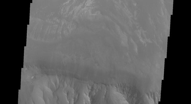 This image captured by NASA's 2001 Mars Odyssey spacecraft shows the eastern part of Coprates Chasma.
