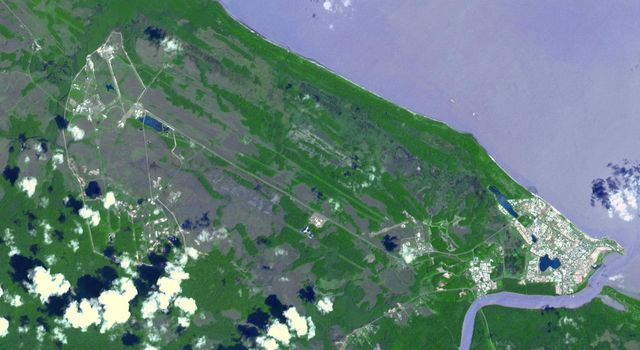 This image from NASA's Terra spacecraft shows the town of Kourou, which sits at the mouth of the Kourou River, French Guiana.