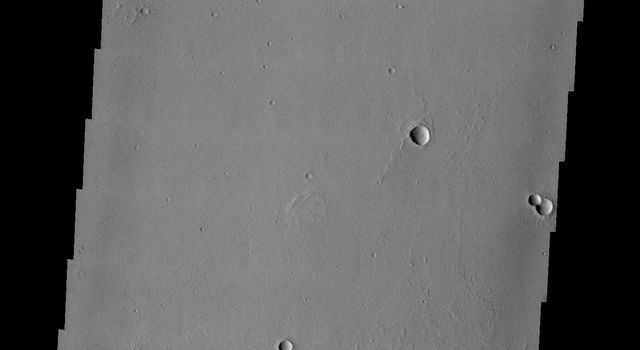 This image from NASA's Mars Odyssey spacecraft shows ejecta surrounding small craters on Mars that look like interlocking gears.