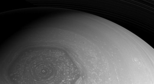 Taken by NASA's Cassini spacecraft, this image shows Saturn's polar jet stream.