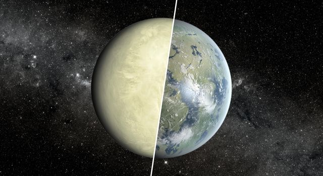 This artist's concept shows a Super Venus planet on the left, and a Super Earth on the right. Researchers use a concept known as the habitable zone to distinguish between these two types of planets, which exist beyond our solar system.