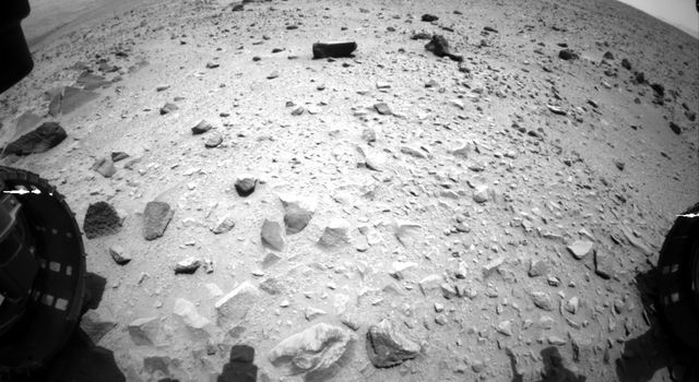 NASA's Curiosity Mars rover captured this image on with its Hazcam just after completing a drive that took the mission's total driving distance past the 1 kilometer (0.62 mile) mark.