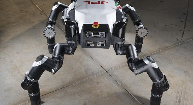 Known as 'Clyde,' RoboSimian is an an ape-like robot designed and built at Jet Propulsion Laboratory, Pasadena, Ca. The robot is four-footed but can also stand on two feet. It has four general-purpose limbs and hands capable of mobility and manipulation.