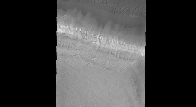 The edge of the south polar cap is the bright band in the center of this image captured by NASA's 2001 Mars Odyssey spacecraft.